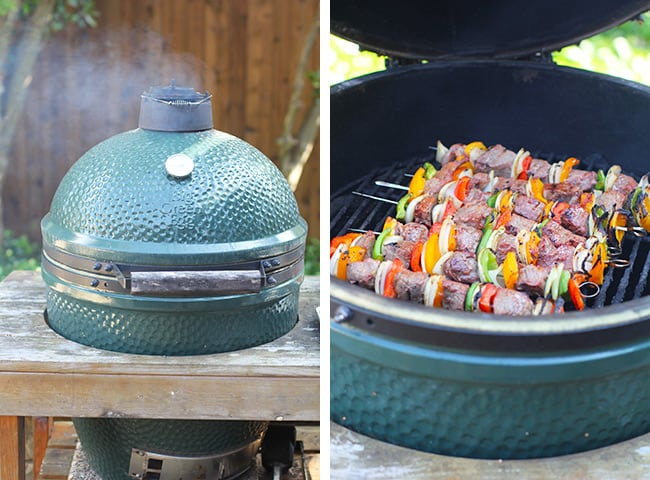 Collage of 1) the Big Green Egg, and 2) the steak kabobs being grilled on the BGE.