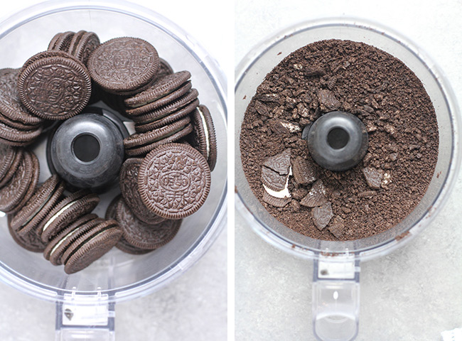Collage of 1) the whole Oreo cookies and 2) the processed Oreo cookies.
