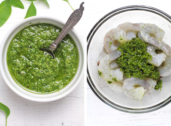 Collage of 1) the pesto sauce and 2) the raw shrimp with the pesto sauce on top.