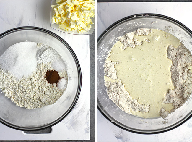Collage of 1) the dry ingredients and 2) the wet ingredients poured over the dry.
