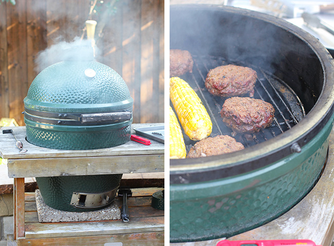 Collage of the BGE and the burgers on the grill.