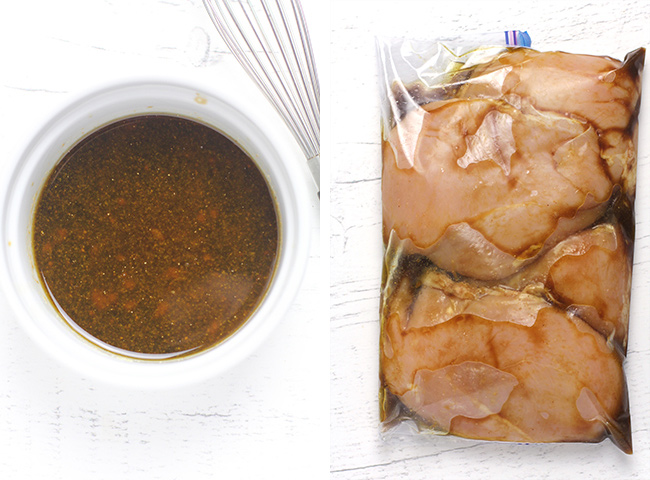 Collage of 1) the chicken marinade and 2) the marinated raw chicken.
