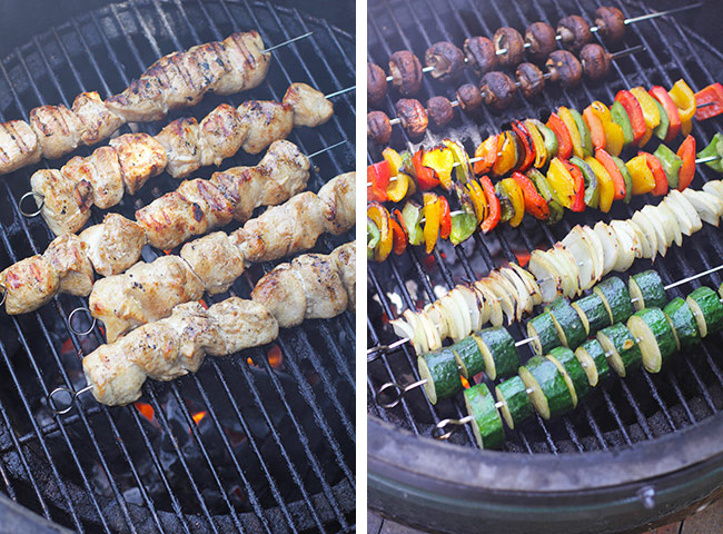 Collage of the chicken skewers on the grill and the veggie skewers on the grill.