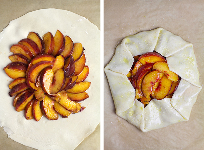 Collage of 1) a pie crust with sliced peaches on top and 2) the crust folded up on top of the peaches.