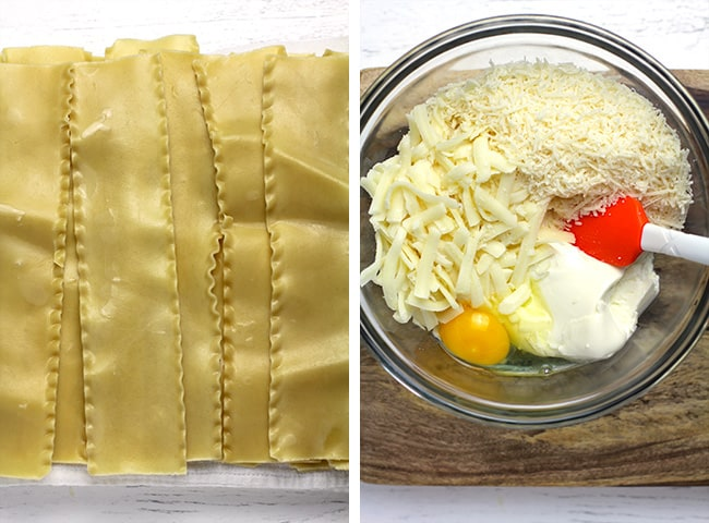 Collage of 1) the lasagna noodles, and 2) the cheese mixture by ingredient.