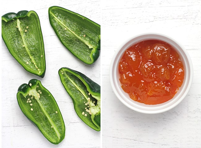 Collage of halved poblano peppers and the apricot preserves.
