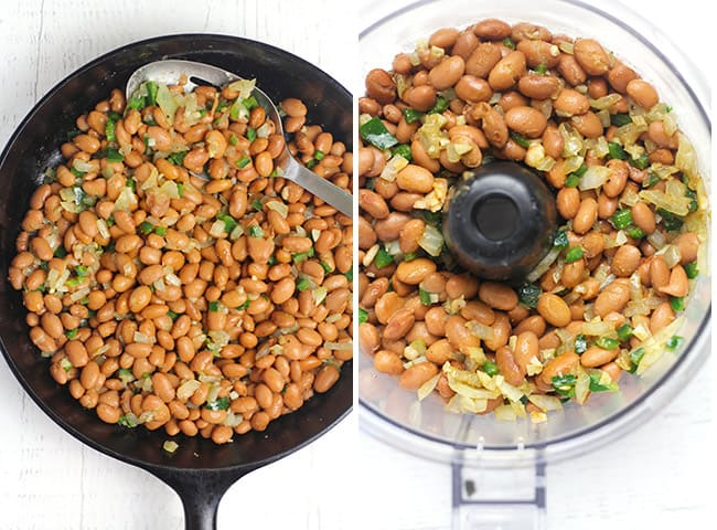 Collage of the beans in the skillet, and then in the food processor.