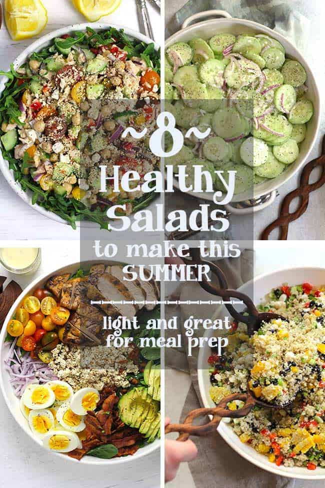 A collage of four healthy salad recipes.