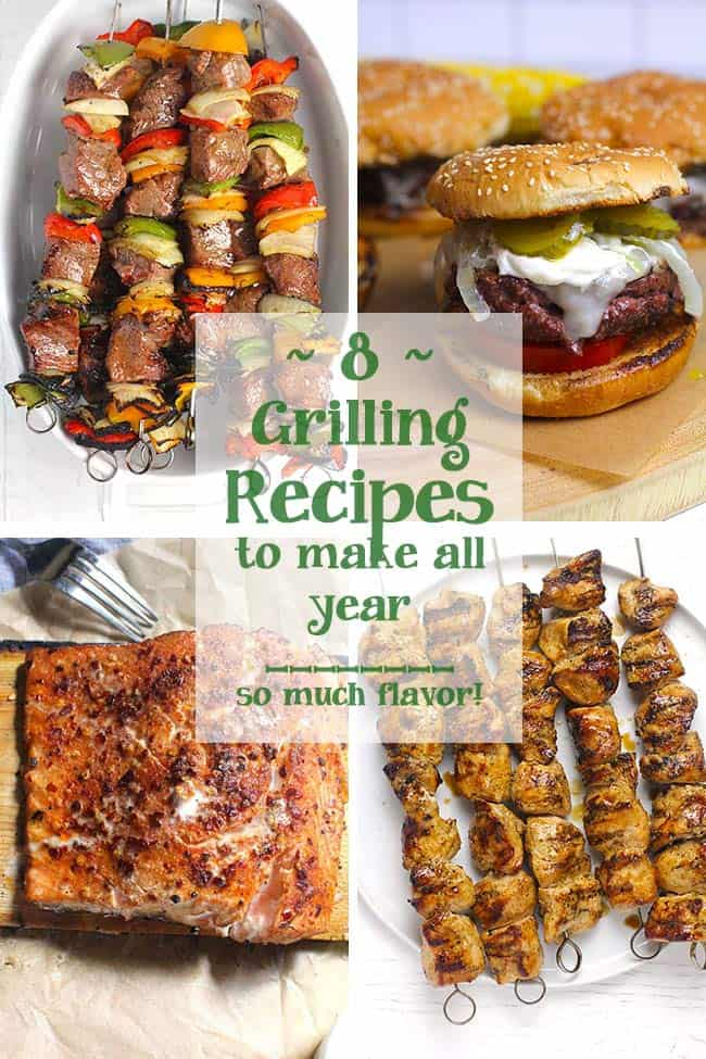 A collage of grilling recipes with text overlay.
