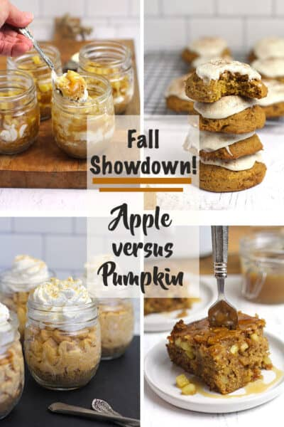 Collage of four recipes - two apple desserts and two pumpkin desserts.