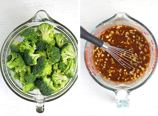 A collage of 1) broccoli florets, and 2) the stir fry sauce.