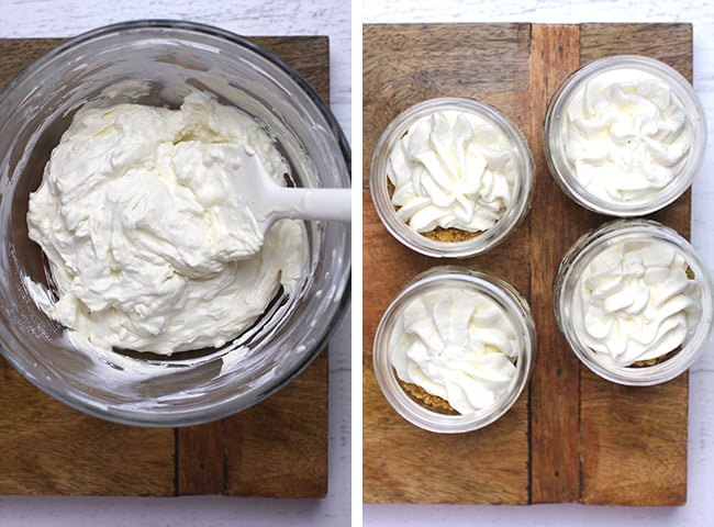 Collage of 1) the cheesecake layer in a bowl, and 2) the cheesecake layer in the jars.