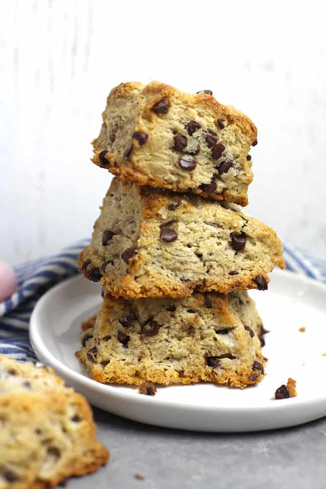 A stack of three mini chocolate chip scones.