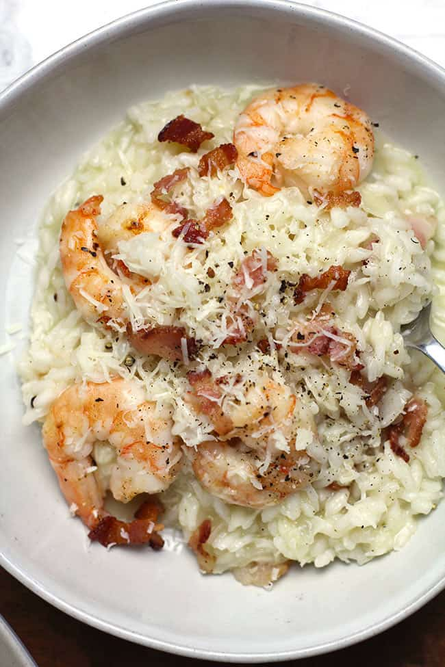 Creamy Shrimp Risotto with Bacon