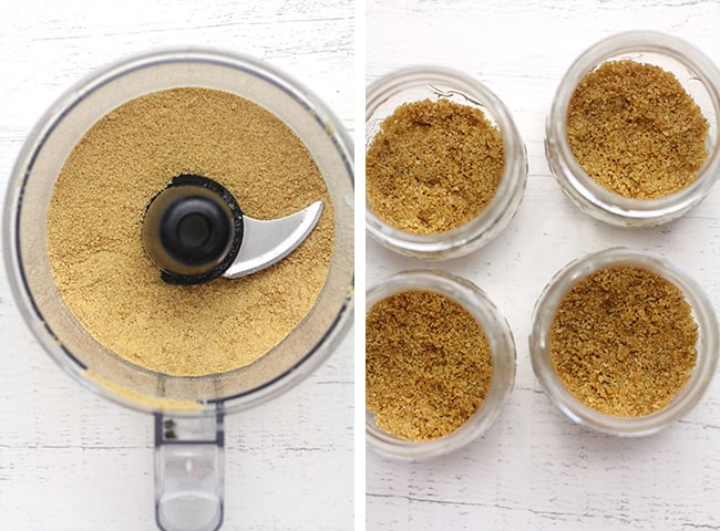 Collage of 1) the graham cracker crumbs in a food processor, and 2) the buttered crumbs in the mason jars.
