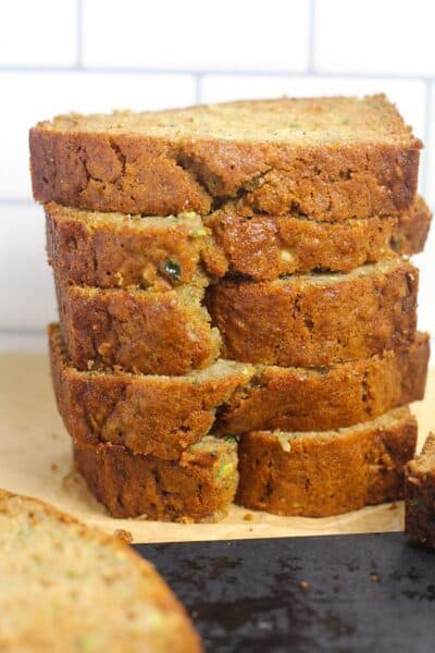 A stack of honey cinnamon zucchini bread slices.