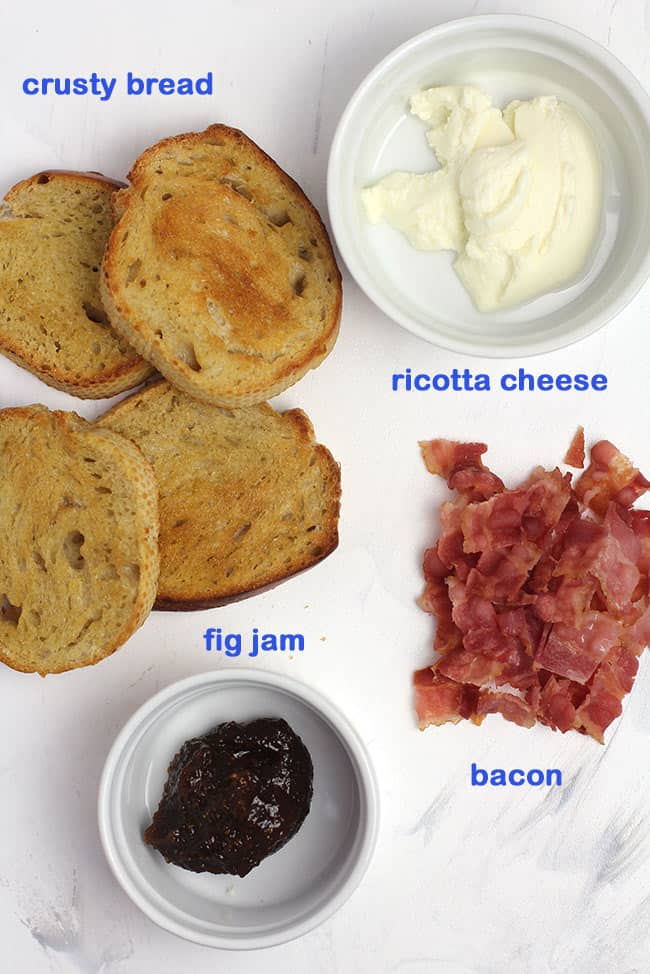 Ingredients for bacon ricotta cheese crostini.