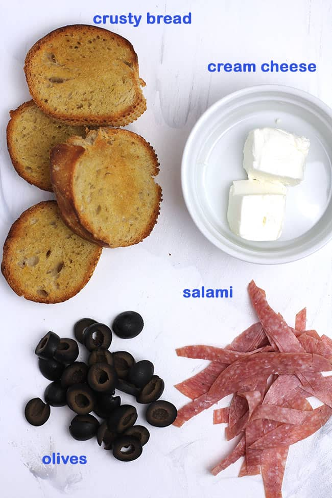 Ingredients for the salami cream cheese crostini.