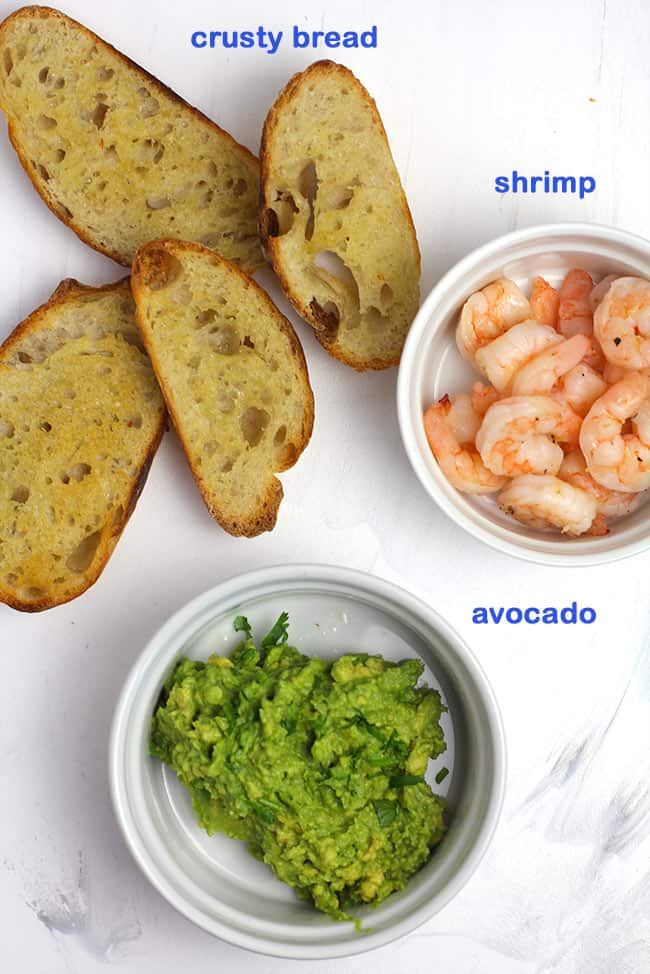 Ingredients for shrimp avocado crostini.