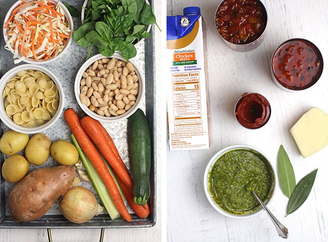 Collage of 1) the vegetables, beans, and pasta, and 2) the canned tomatoes, broth, pesto, and parmesan.