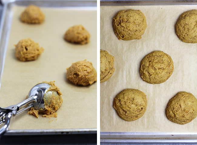 A collage of 1) the cookie scoops of dough on a baking sheet, and 2) the baked cookies.