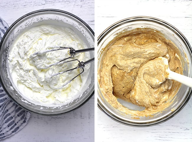 Collage of 1) the whipped cream, and 2) a bowl of the pumpkin cream cheese mixture.