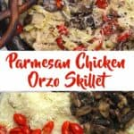 Parmesan Chicken Orzo Skillet with a wooden spoon.