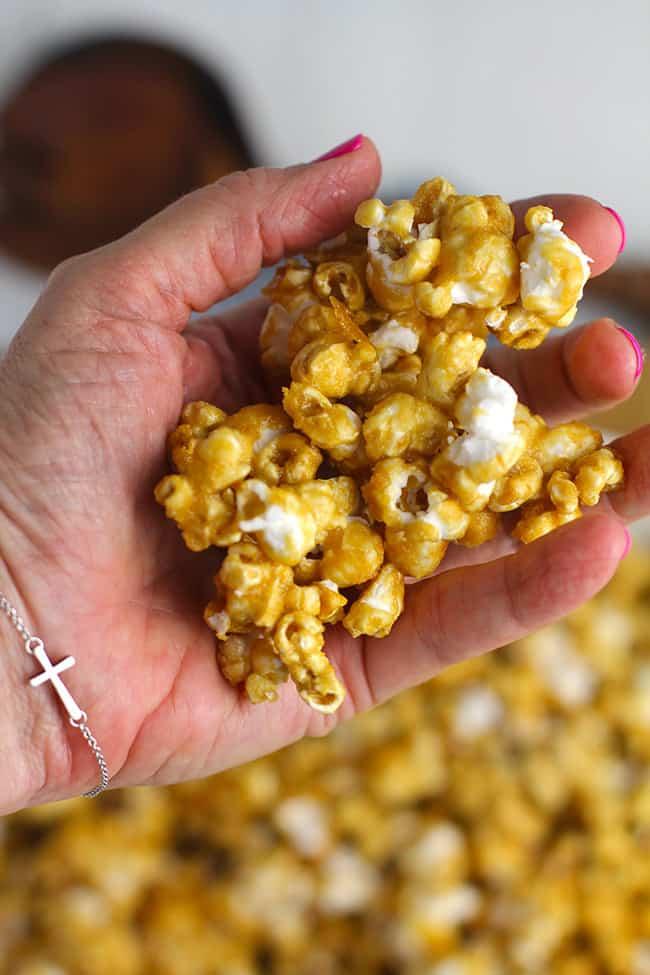 A handful of caramel popcorn.