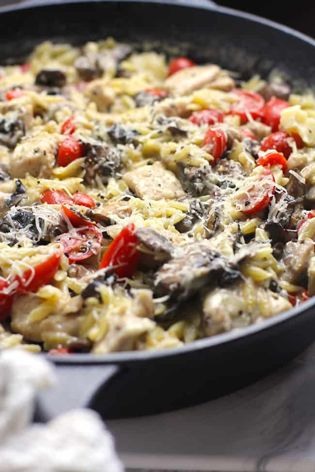 A side view of the parmesan chicken orzo skillet.