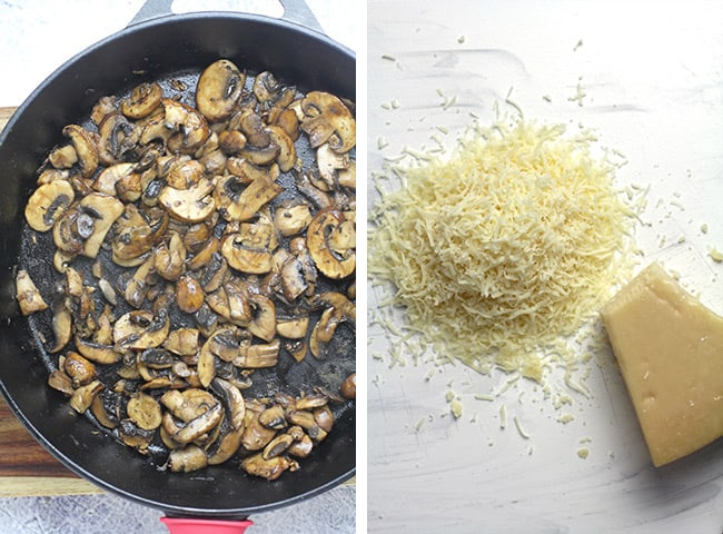 Collage of 1) the sautéed mushrooms, and 2) the shredded parmesan cheese.