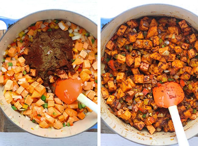 Collage of 1) the veggies with a handful of spice, and 2) the veggies with the seasonings stirred in.