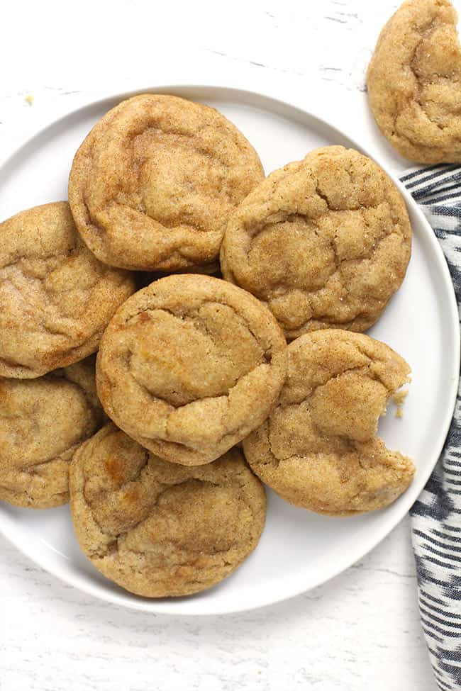 Overhead shot of a white plate of snickerdoodle cookies.