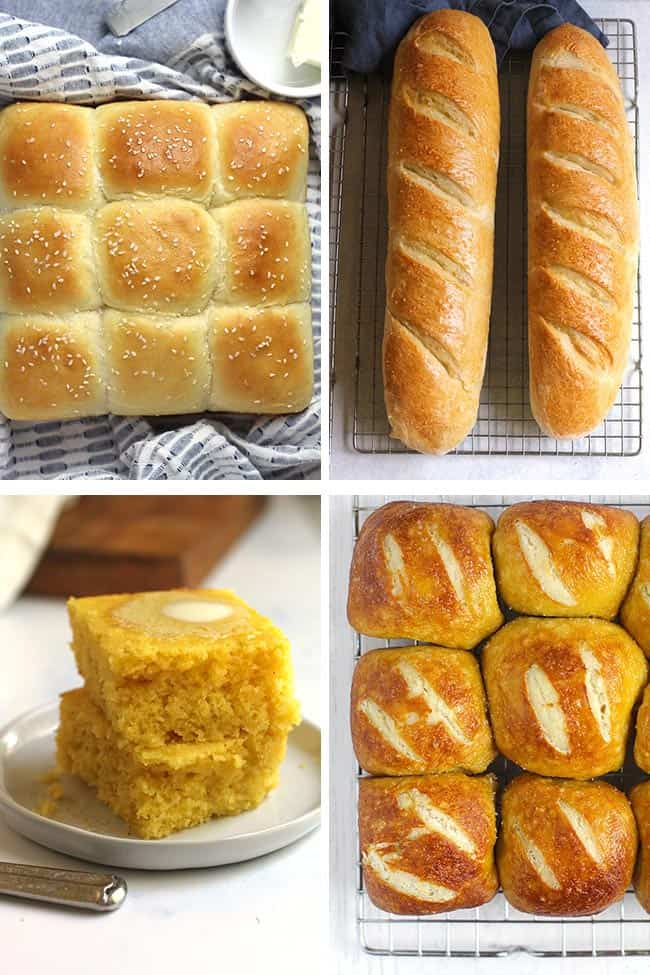 Collage of four different types of bread for Thanksgiving day.