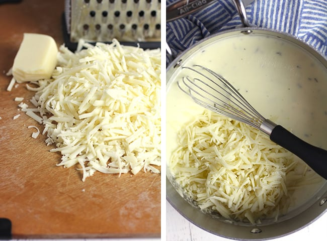 Collage of 1) the shredded gruyere, and 2) the cheese sauce with the gruyere on top.
