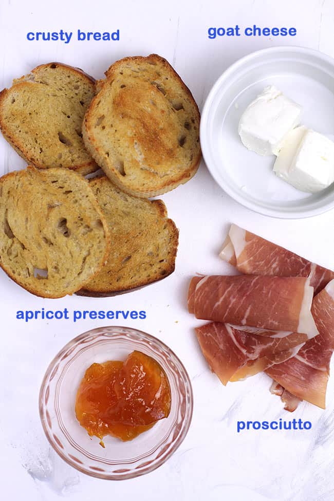 Ingredients for prosciutto crostini with apricot preserves.