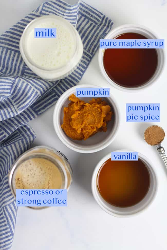 All six ingredients needed for these pumpkin spice lattes.