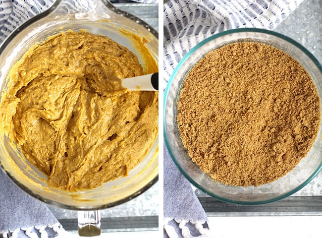 Collage of 1) the pumpkin batter, and 2) the pumpkin streusel.
