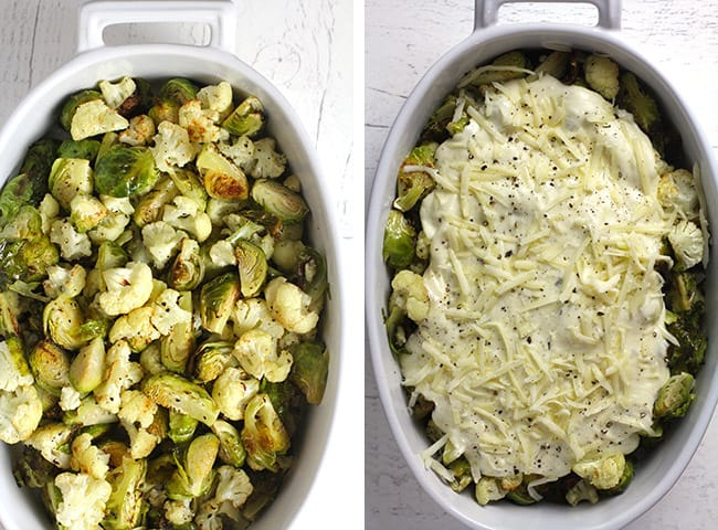 Collage of 1) the roasted veggies, and 2) the roasted veggies with the gruyere cheese sauce on top.