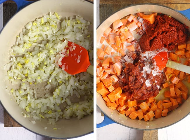 Collage of 1) the onions, ginger, and garlic in a pot, and 2) the soup with the tomato ingredients added.