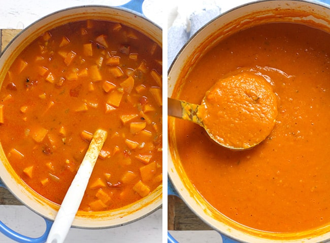 Collage of 1) the finished soup before blending, and 2) the soup after blending.