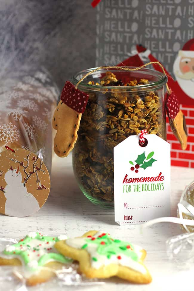 Some edible Christmas gift ideas - granola, cookies, and bread.