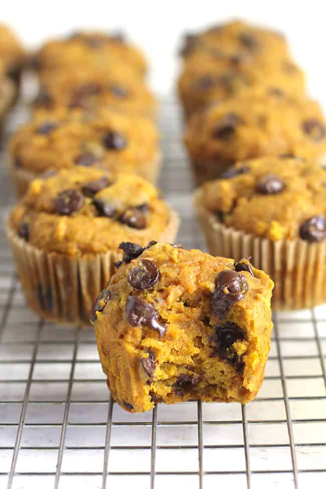 Side view of a bunch of pumpkin muffins, with one muffin having a bite out.