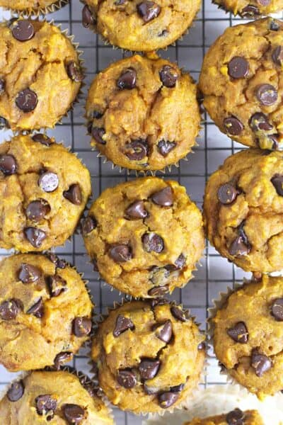 Overhead view of pumpkin chocolate chip muffins on a cooling rack.