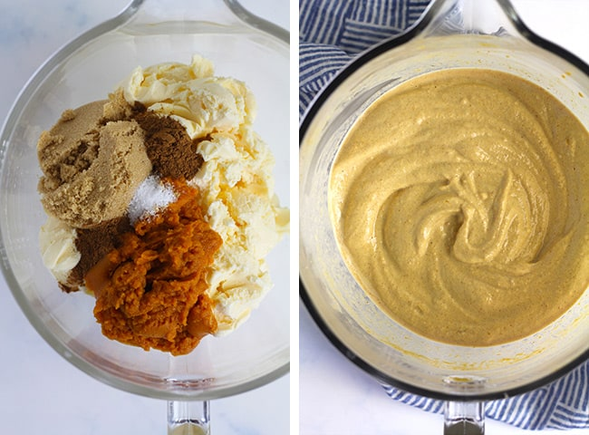 Collage of 1) the pumpkin ice cream ingredients, and 2) the combined ice cream mixture.