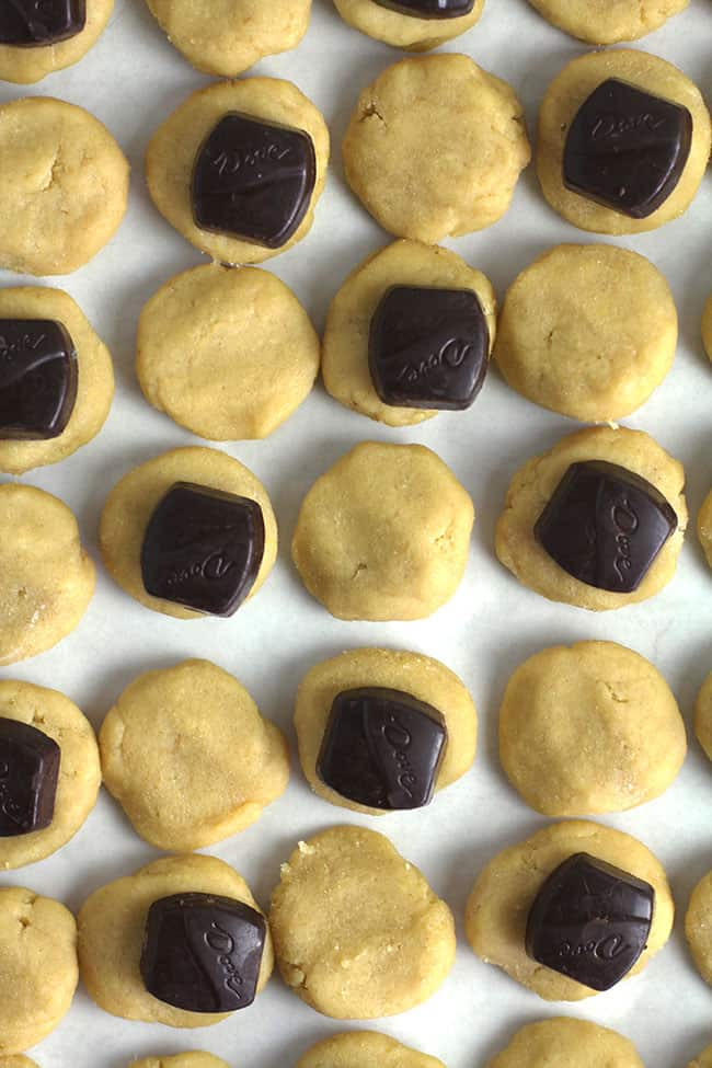 Overhead shot of several flat cookie shapes, with Dove chocolates on top.