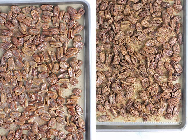 Collage of 1) the pecans before baking, and 2) the pecans after baking on pan.