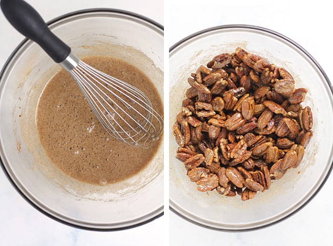 Collage of 1) the candied mixture, and 2) the pecans in the candied mixture.