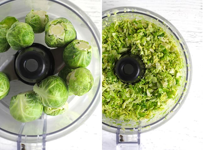 Collage of 1) the whole Brussels sprouts, and 2) the processed sprouts.