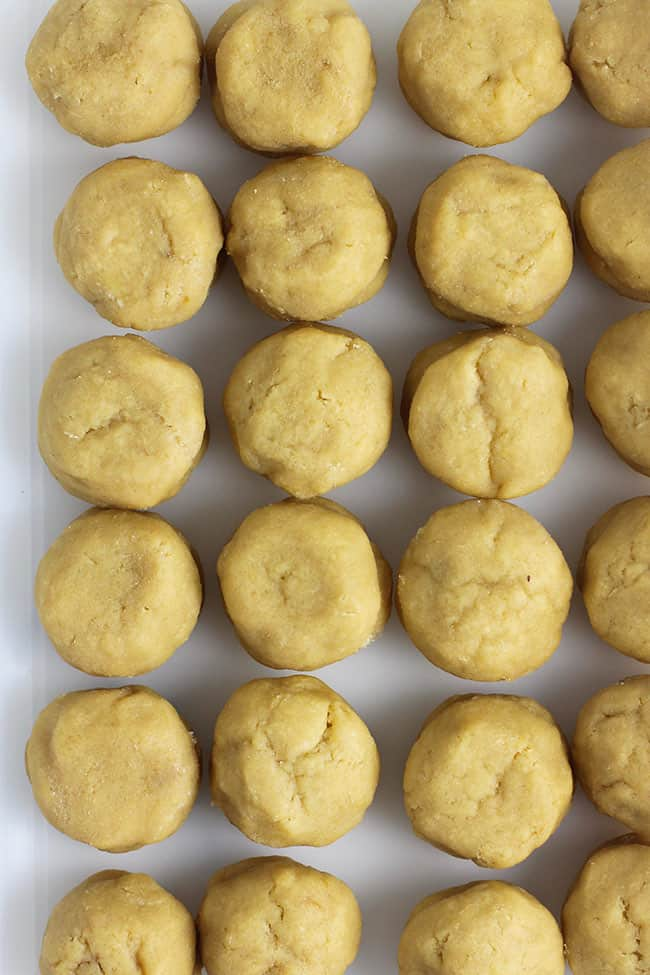 Several stuffed cookie balls in a Tupperware container.