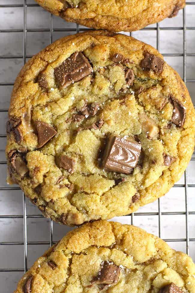 Overhead shot of a large brown butter toffee cookie.